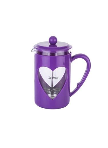 Tantitoni Mor Kalp Şekilli Bitki Çayı Kahve Presi 800Ml Renkli